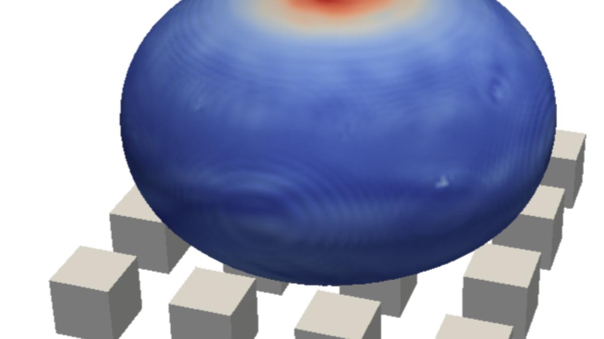 Numerische Simulation eines Tropfenaufpralls auf strukturierte Oberfläche  (c)  M. Baggio (ITLR)