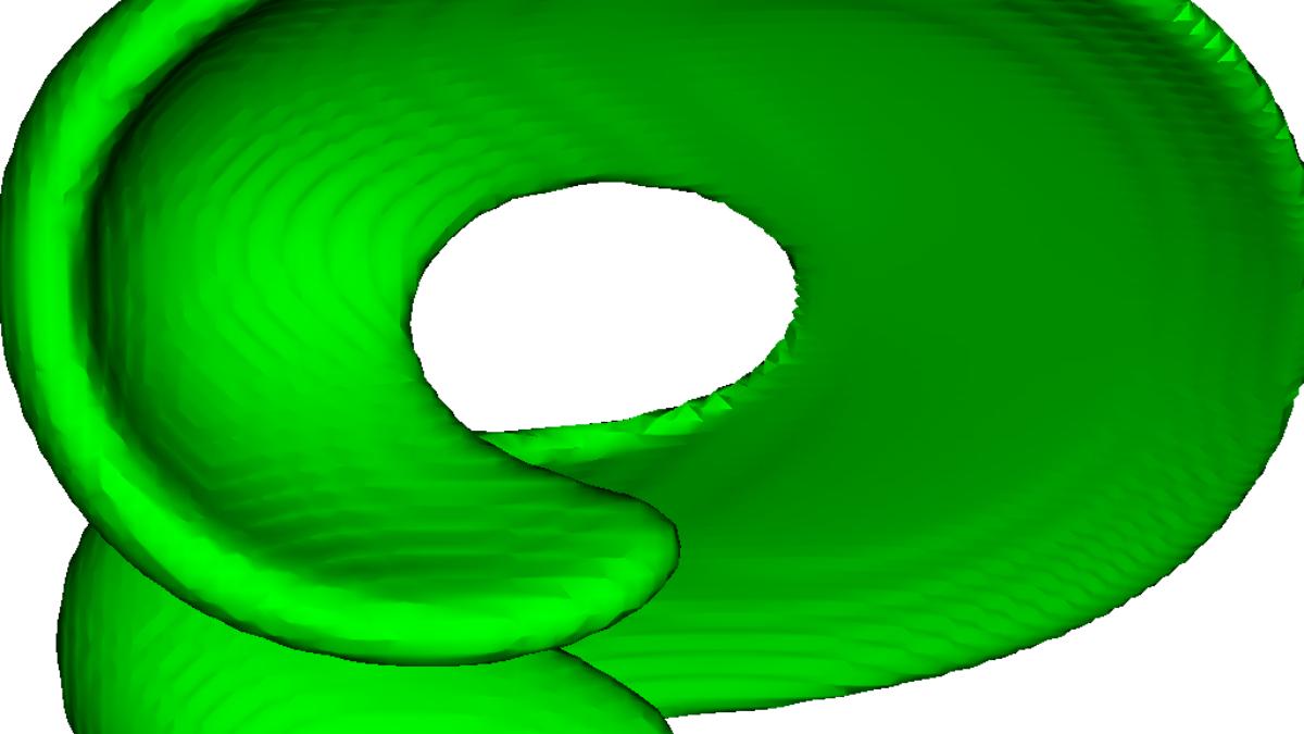 Verformungstest für ungeteilte Masse in FS3D: sphärischer Tropfen im solenoidalen Geschwindigkeitsfeld.  (c) C. KIeffer-Roth (ITLR)