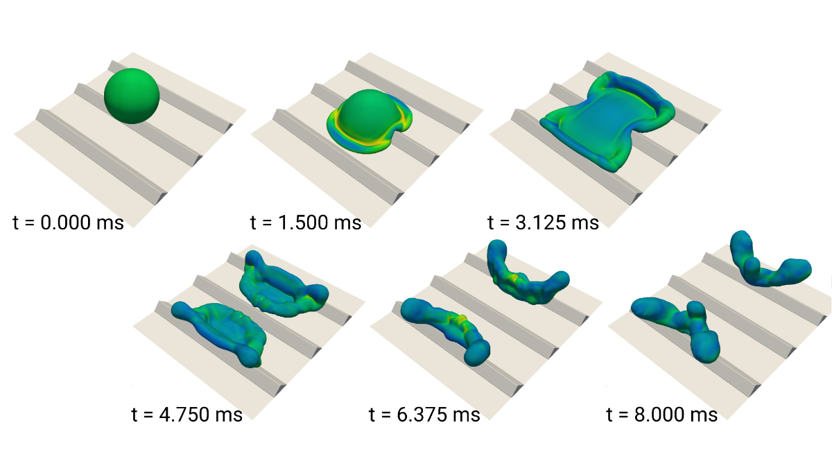 Numerical simulation of droplet impacting on a structured superhydrophobic surface