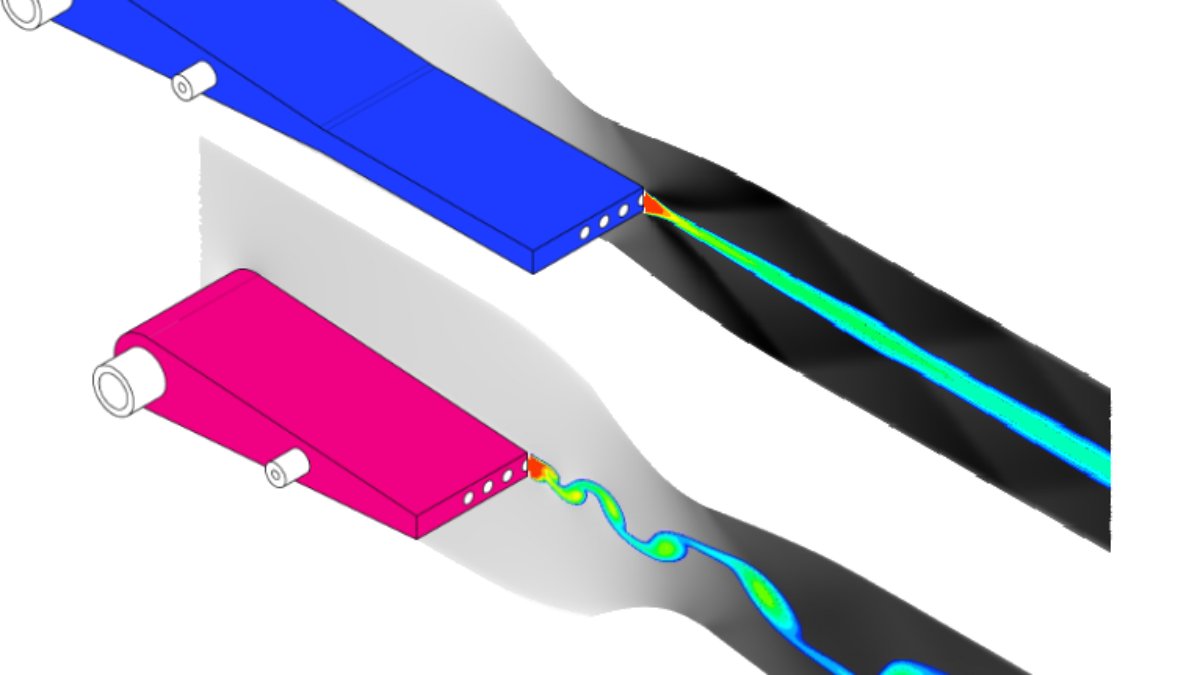 Transsonische Mischungsgrenzschicht zweier verschiedener Injektoren in einer kompressiblen Düsenströmung / Transonic mixing layer of two different injector types in a compressible nozzle flow  (c) J. Richter (ITLR)