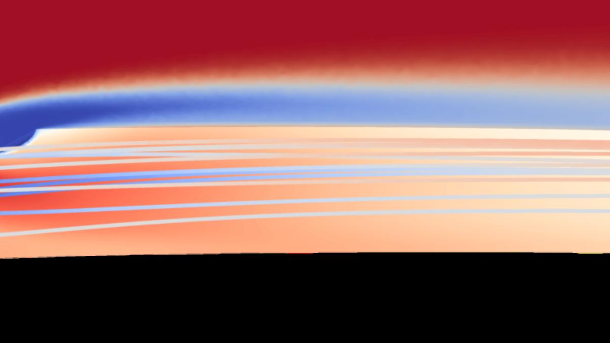 Kühllufteinblasung im C3X-Testfall. Mischungsvorgang zwischen Kühl- und Heißluft als Stromlinien (Vordergrund) und Temperaturverlauf (Hintergrund). Temperaturverlauf auf der Turbinenschaufeloberfläche.  (c) H. Mayer (ITLR)